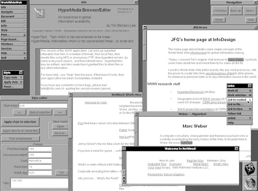 บราวเซอร์แรกของโลกที่รันบนระบบปฏิบัติการ NeXTSTEP บนคอมพิวเตอร์ NeXT
